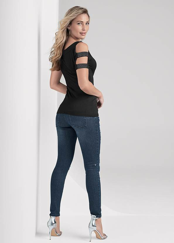 Full back view Embellished Strappy Top