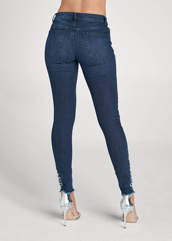 Waist down back view Floral Embroidered Jeans