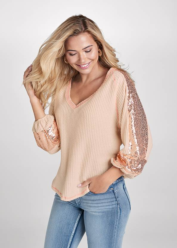Sequin Waffle Knit Top,Mid Rise Color Skinny Jeans,Floral Embroidered Skinny Jeans,Pearl By Venus® Strapless Bra,Stitched Knee High Boots,Raffia Hoop Earring Set