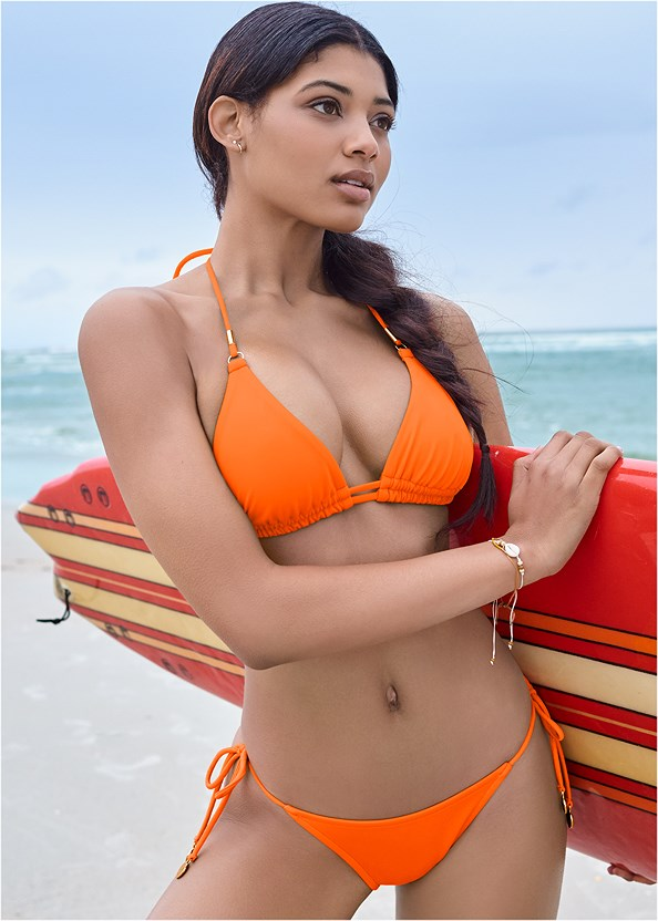 Sports Illustrated Swim™ Tie Side String Bottom,Sports Illustrated Swim™ Double Strap Triangle Top,Sports Illustrated Swim™ Continuous Underwire Bra Top