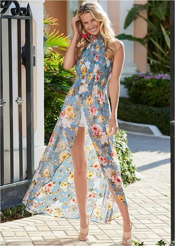 Smocked Floral Maxi Top,Frayed Cut Off Jean Shorts,Triangle Hem Jeans,High Heel Strappy Sandals