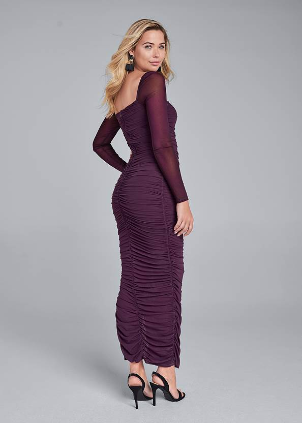 Full back view Ruched Mesh Bodycon Dress