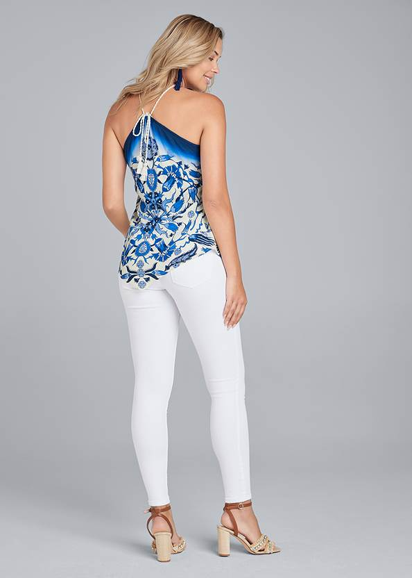 Full back view Floral Handkerchief Top