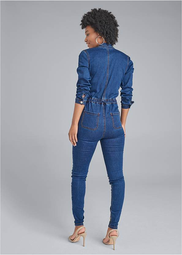 Full back view Embroidered Denim Jumpsuit