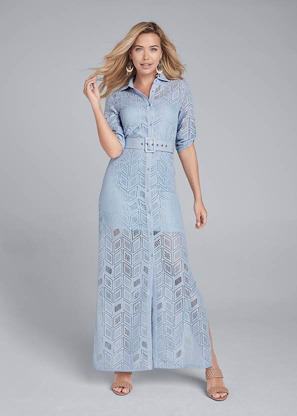 Full front view Lace Button Down Maxi Dress