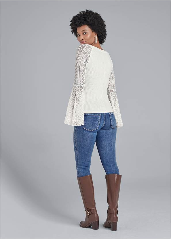 Full back view Lace Bell Sleeve Waffle Knit Top