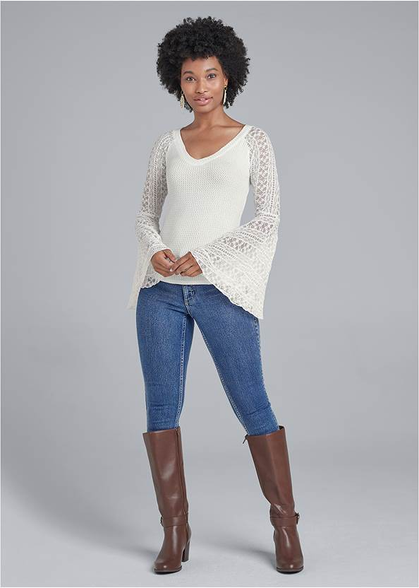 Full front view Lace Bell Sleeve Waffle Knit Top