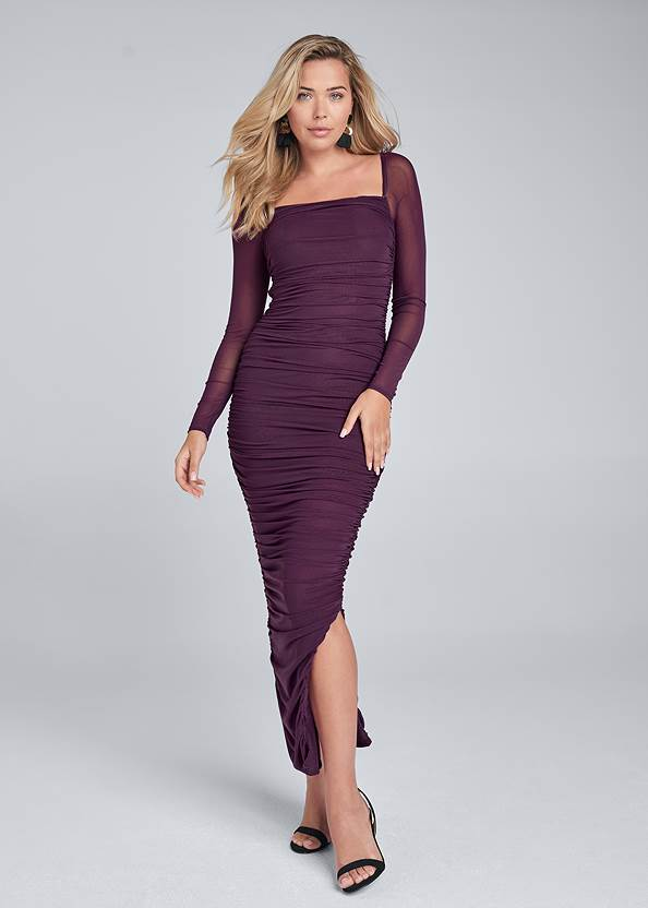 Ruched Mesh Bodycon Dress,Sexy Slingback Heels,Coin Tassel Earrings,Pleated Tote Bag