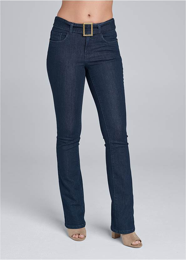 Waist down front view Belted Bootcut Jeans
