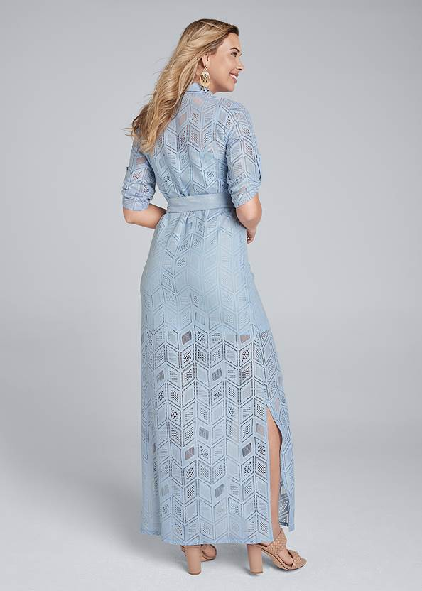 Full back view Lace Button Down Maxi Dress