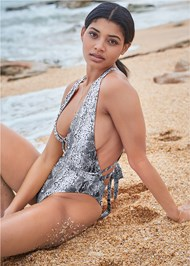 Front View Sports Illustrated Swim™ Brazilian Wrap One-Piece