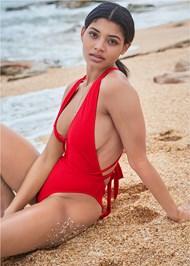 Front View Sports Illustrated Swim™ Brazilian Wrap One-Piece