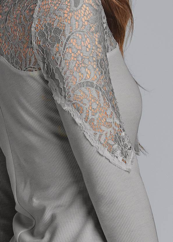 Detail back view Lace Sleeve Lace Up Top