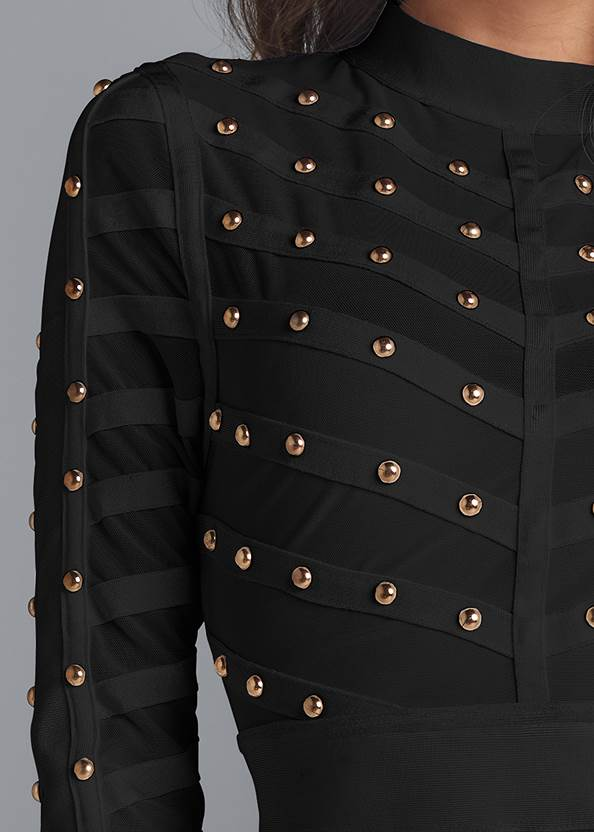 Detail front view Studded Bodycon Dress