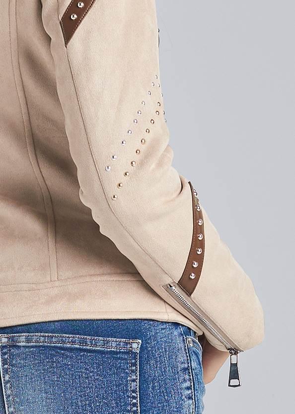 Detail back view Faux Suede Moto Jacket