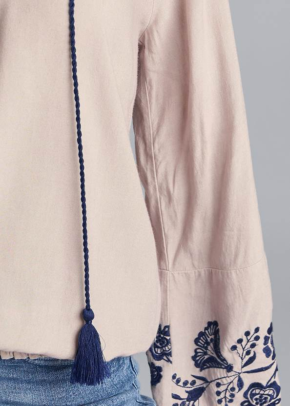 Detail front view Embroidered Boho Top