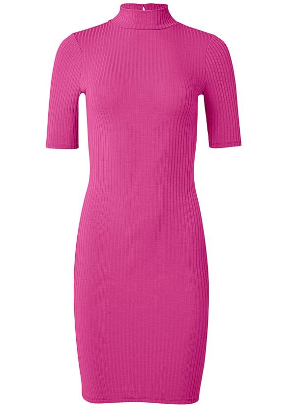 Ghost with background  view Ribbed Mock Neck Dress