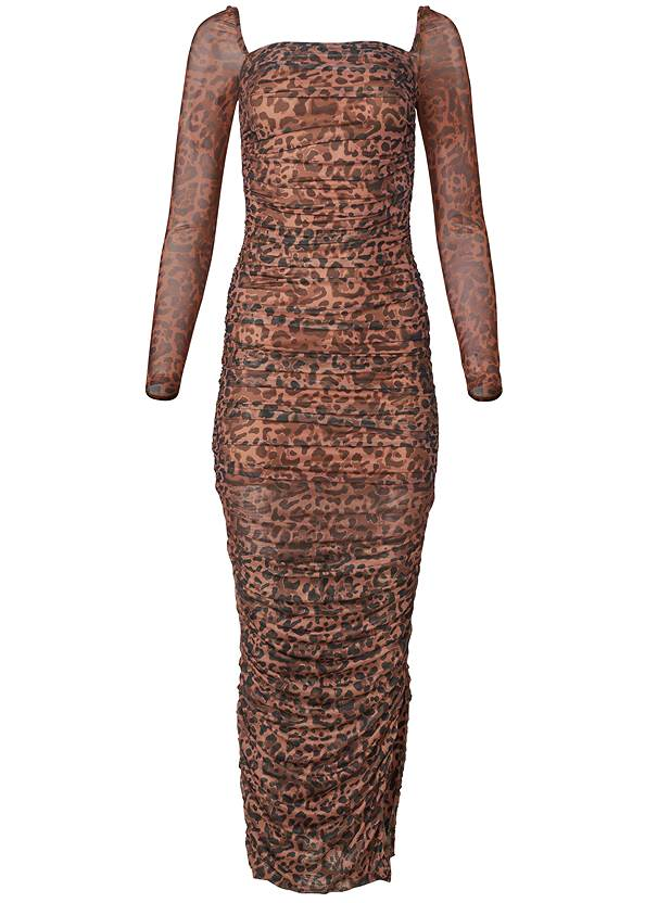 Ghost with background  view Ruched Mesh Bodycon Dress