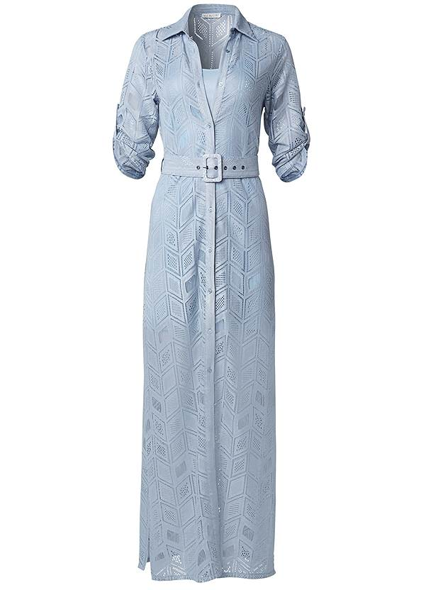 Ghost with background  view Lace Button Down Maxi Dress