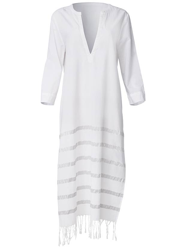 Ghost with background  view Metallic Stripe Fringe Cover-Up