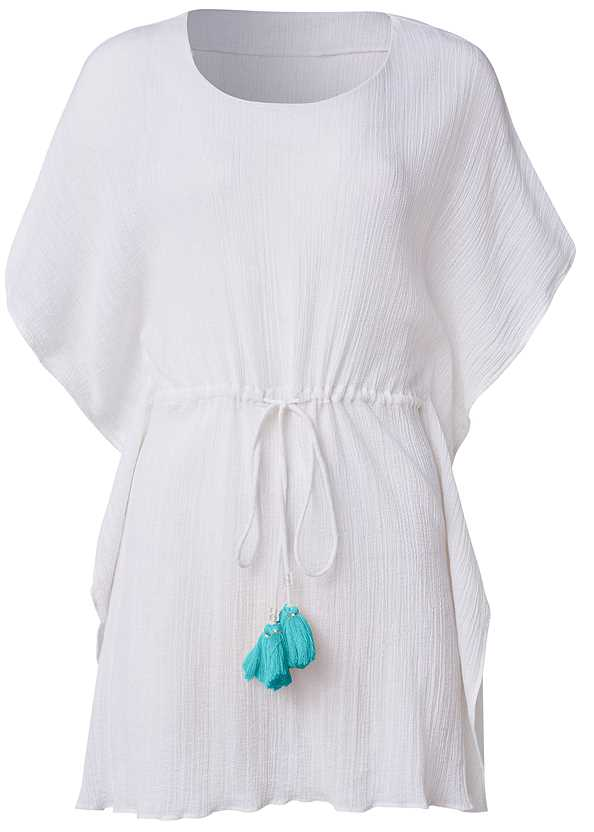 Tassel Trim Coverup Tunic,Heavenly Halter Top,High Waist Bottom,Slimming Bandeau One-Piece,Ring Handle Straw Tote