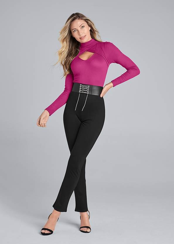 Twofer Jumpsuit,Sexy Slingback Heels,Pearl™ By Venus Perfect Coverage Bra,Beaded Tassel Earrings,Rhinestone Stretch Belt,Studded Faux Leather Tote