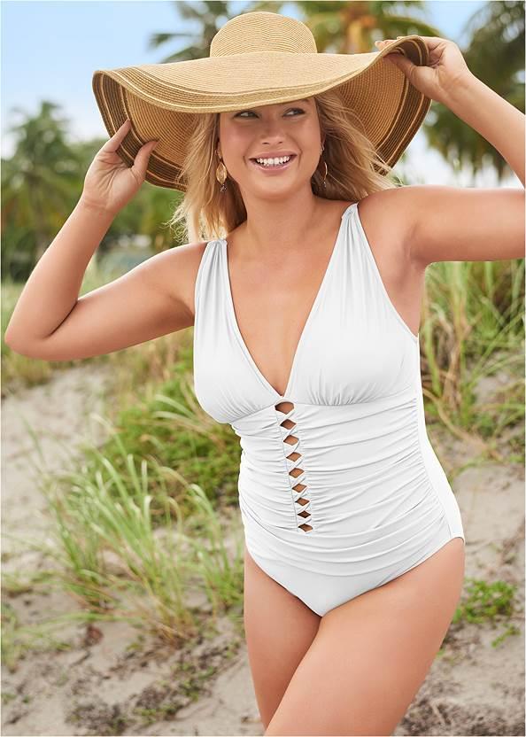 Girlboss One-Piece,Roman Cover-Up Beach Dress,Slit Leg Jumpsuit Cover-Up,Long Circle Earrings