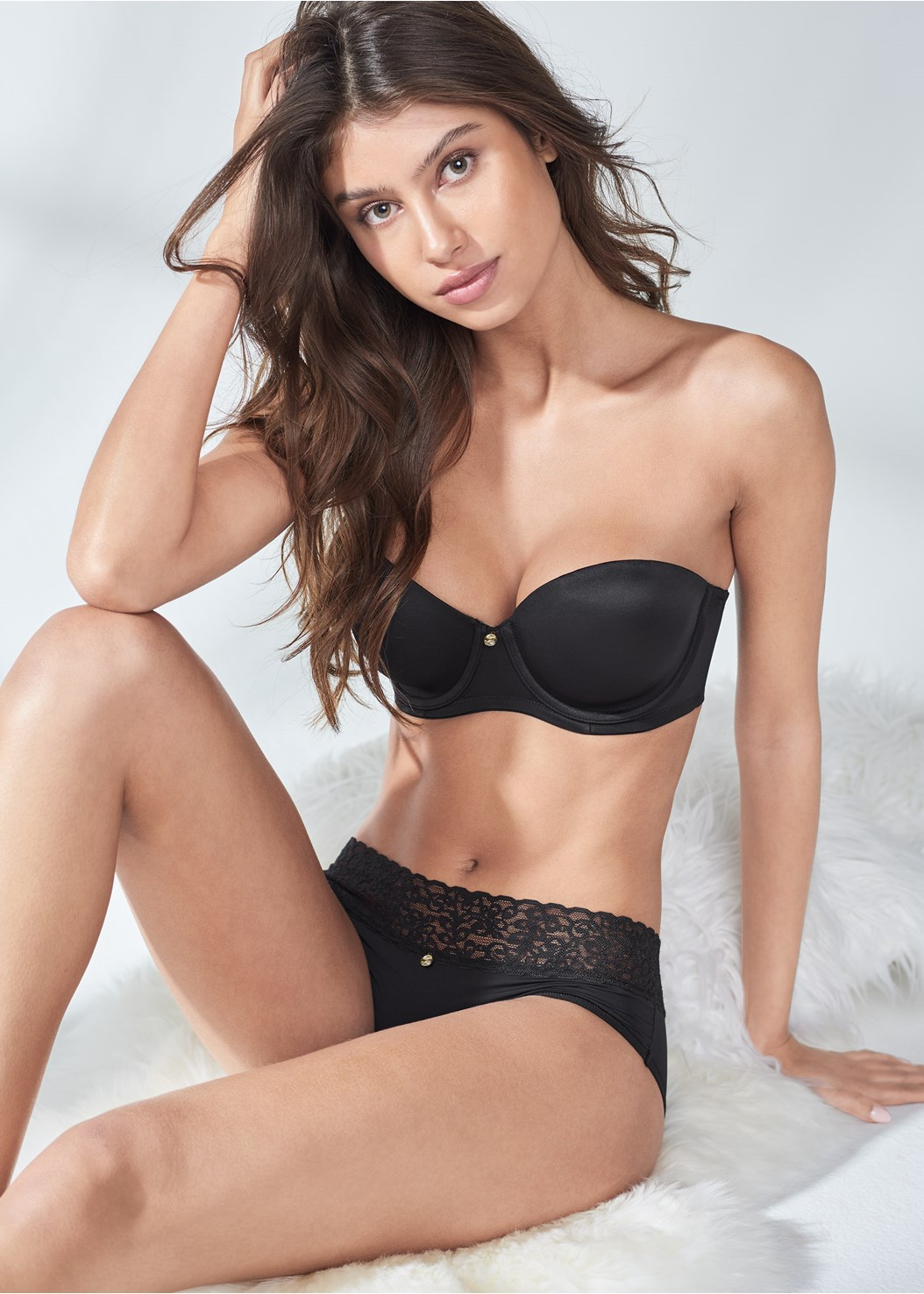 Pearl™ By Venus Strapless Bra,Pearl™ By Venus Lace Trim Hipster 3 Pack,Pearl™ By Venus All Over Lace Thong 3 Pack,Pearl™ By Venus Strappy Bikini 3 Pack,Pearl™ By Venus Retro High Leg Panty 3 Pack