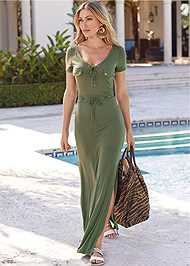 Full Front View Utility Lace Up Maxi Dress