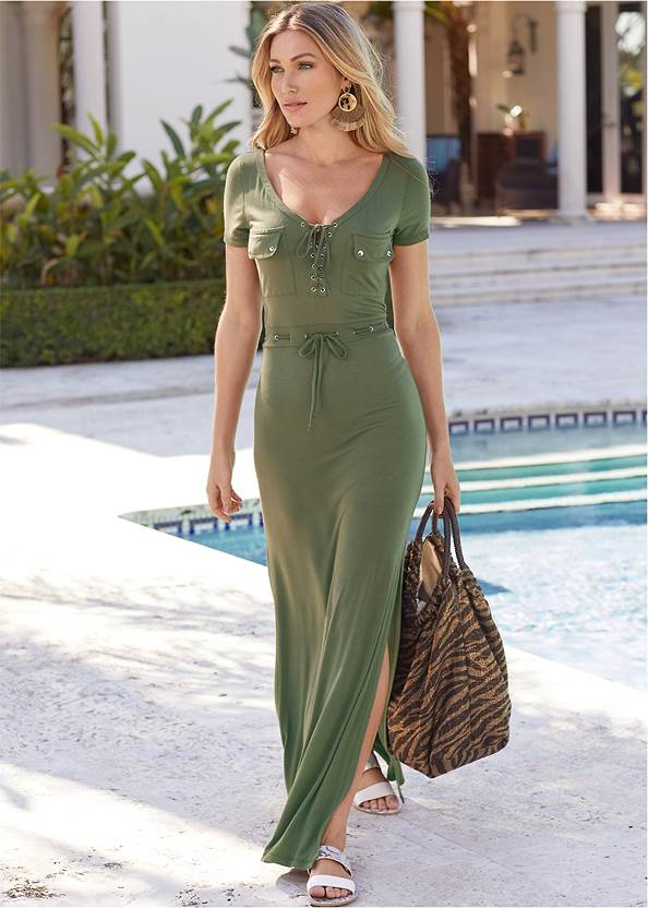 Utility Lace Up Maxi Dress,Pearl™ By Venus Perfect Coverage Bra,Rhinestone Thong Sandals,Hoop Detail Earrings