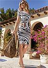 Front View Printed Bodycon Dress