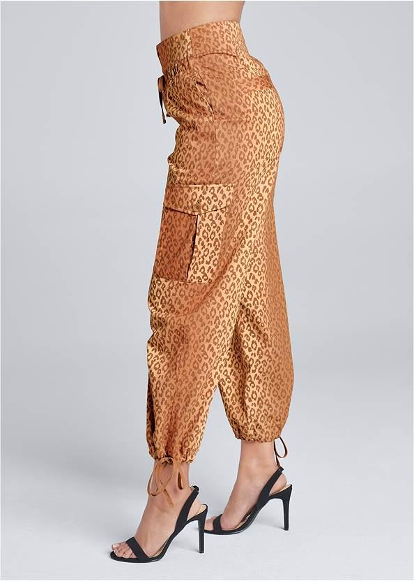 Waist down side view Leopard Print Cargo Pants