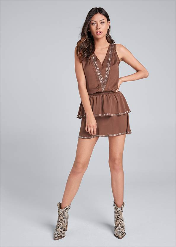 Full front view Embellished Detail Mini Dress