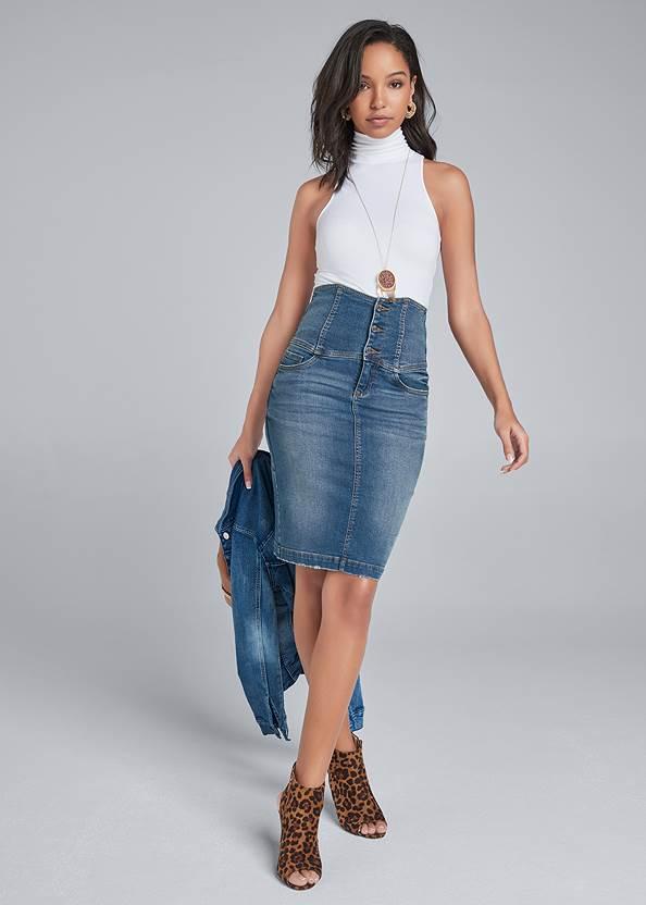Corset Jean Midi Skirt,Jean Jacket,Peep Toe Print Heels,Raffia Hoop Earring Set