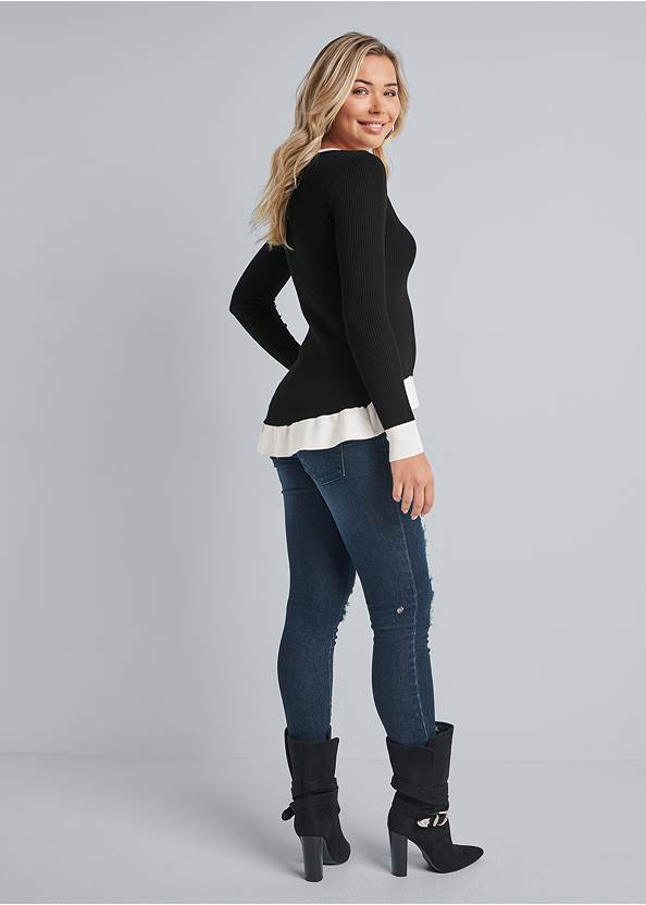 Full back view Deep-V High-Low Sweater