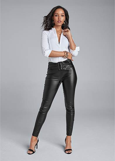Belted Faux Leather Leggings