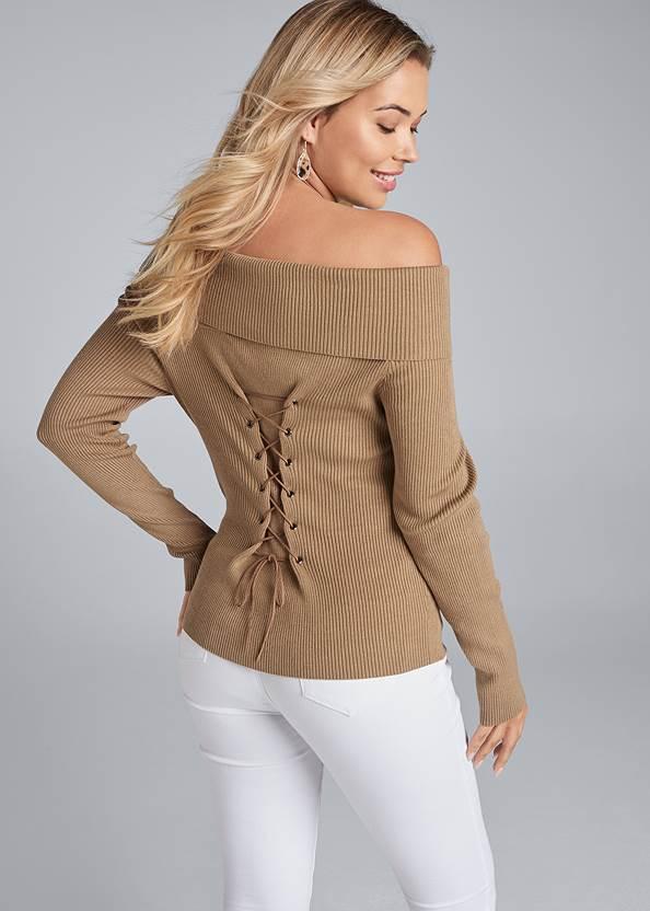 Off The Shoulder Corset Detail Sweater,Bum Lifter Jeans,Mixed Earring Set