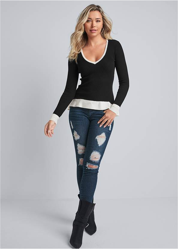 Full front view Deep-V High-Low Sweater