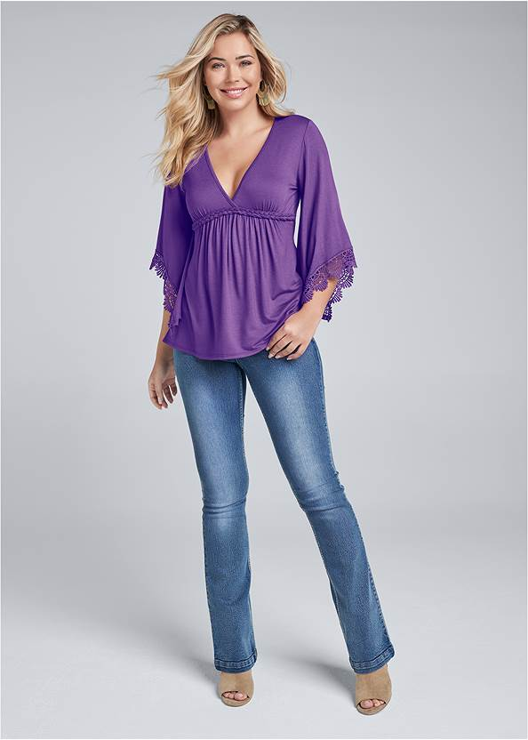 Full front view Lace Bell Sleeve Boho Top