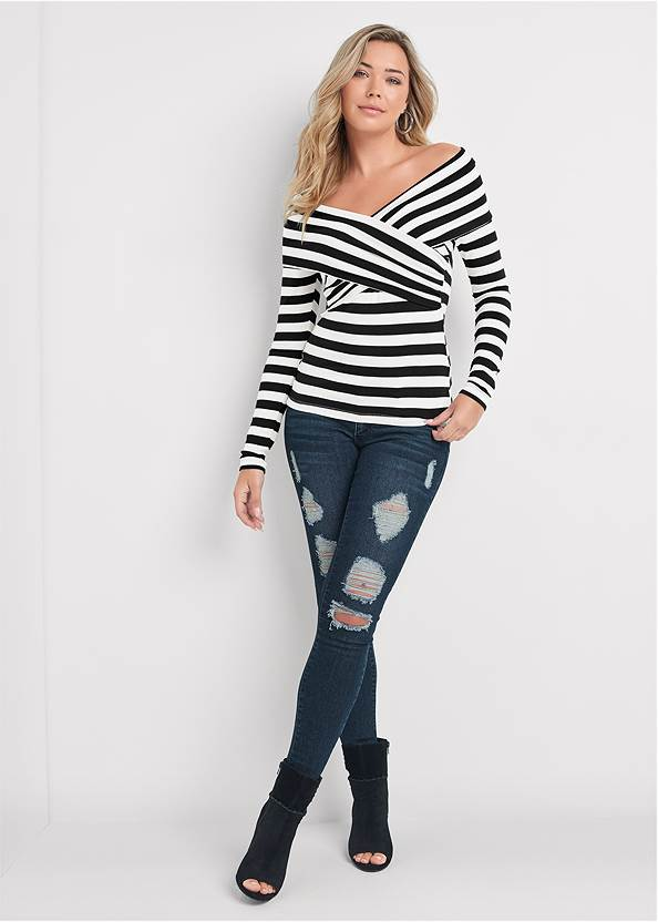 Full front view Stripe Off-The-Shoulder Top
