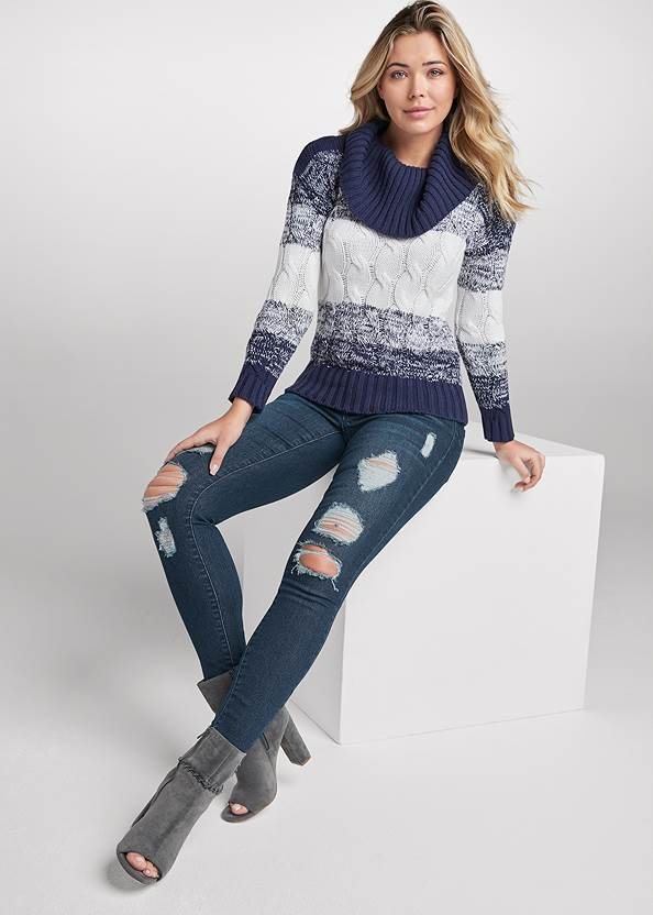 Full front view Marled Striped Turtleneck