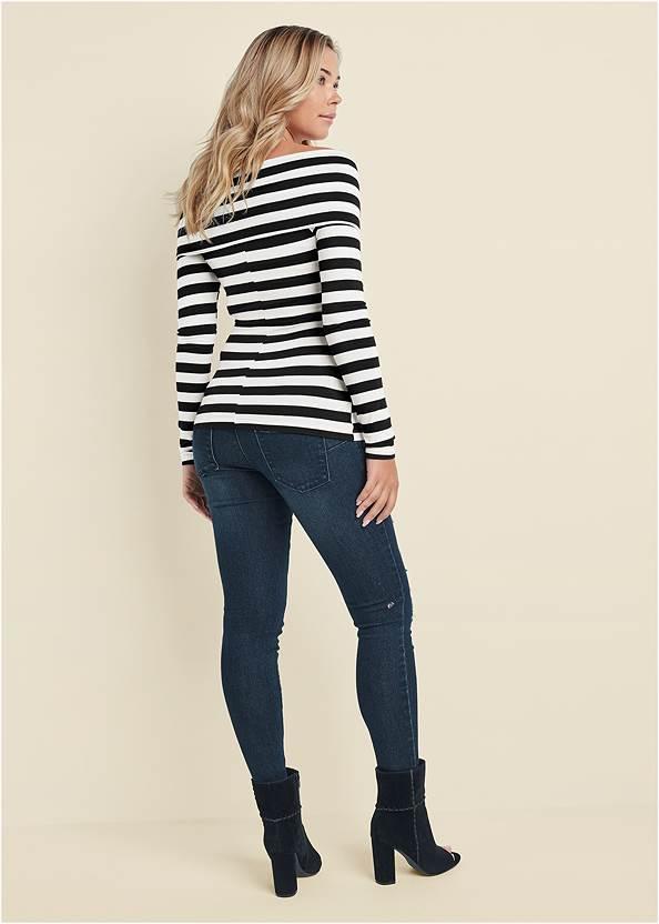 Full back view Stripe Off-The-Shoulder Top