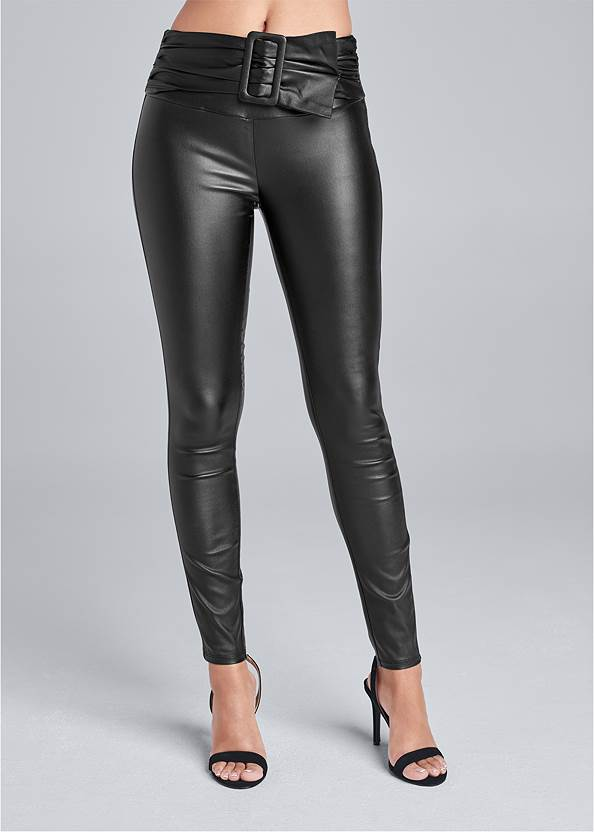 Cropped Front View Belted Faux Leather Leggings