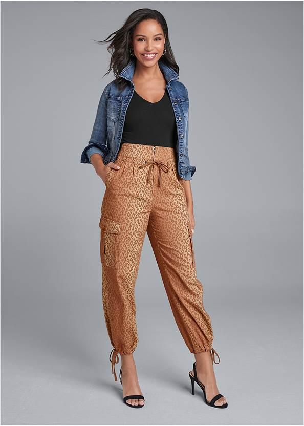 Leopard Print Cargo Pants,Long And Lean V-Neck Tee,Jean Jacket,Sexy Slingback Heels,Raffia Hoop Earring Set,Leopard Fringe Crossbody