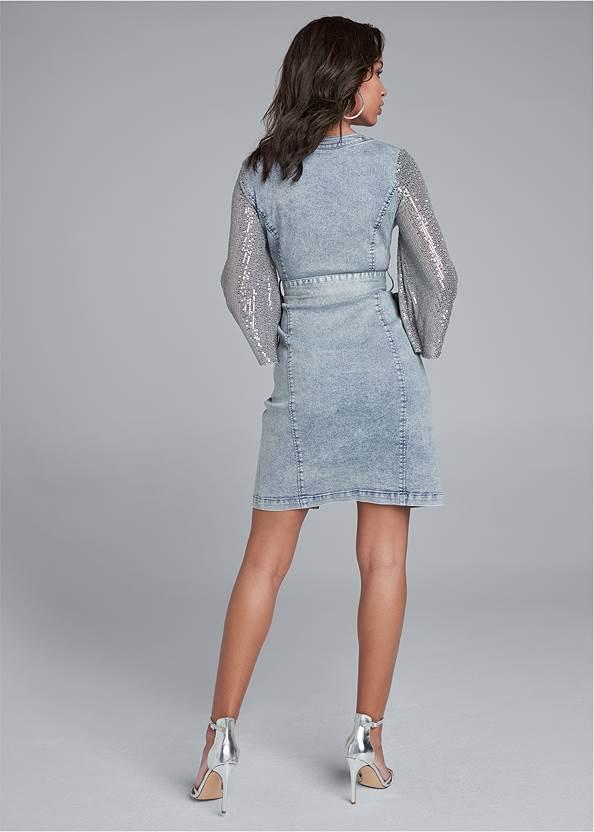Full back view Sequin Sleeve Denim Dress