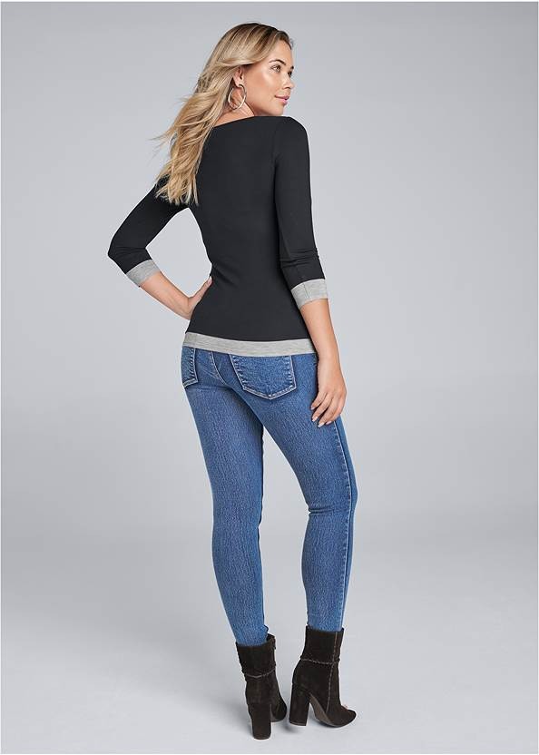 Full back view Layered Casual Top