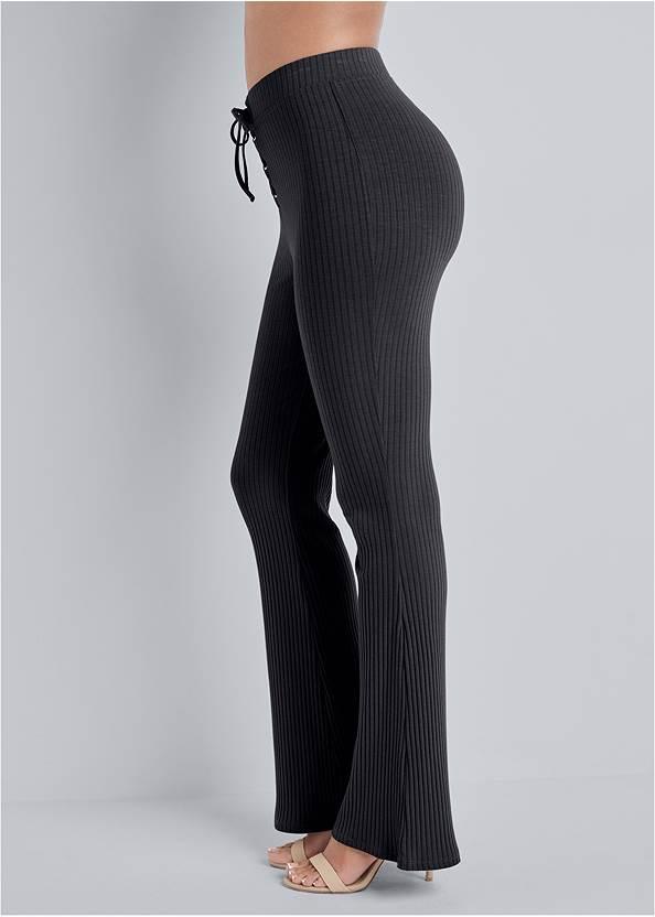 Waist down side view Rib Knit Bootcut Pants