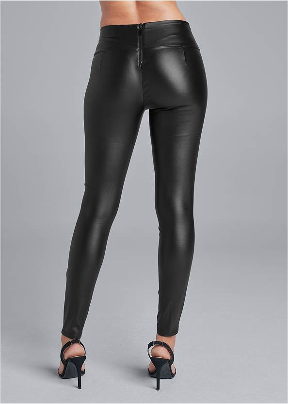 Back View Belted Faux Leather Leggings