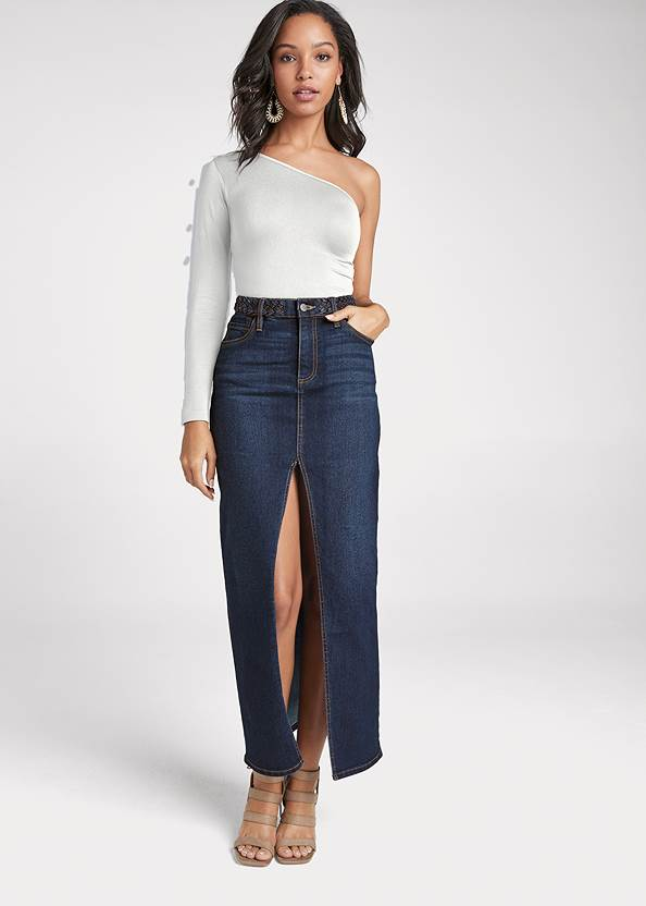 Jean Front Slit Maxi Skirt,One Shoulder Seamless Top,Eyelet Boho Top,Sexy Slingback Heels,Mixed Earring Set,Studded Round Crossbody