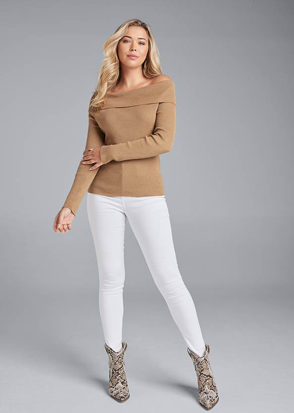Full front view Off The Shoulder Corset Detail Sweater